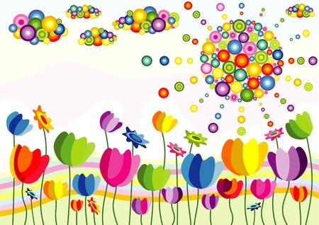 flores abstractas: resumen ilustraci�n de flores sol y nubes de fondo Vectores