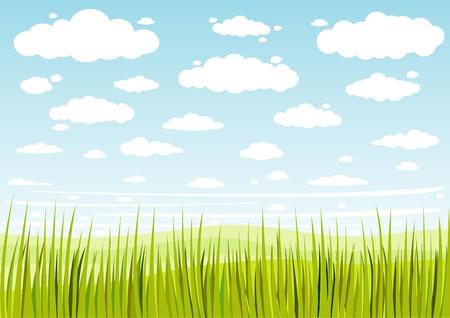 gras lucht en wolken achtergrond