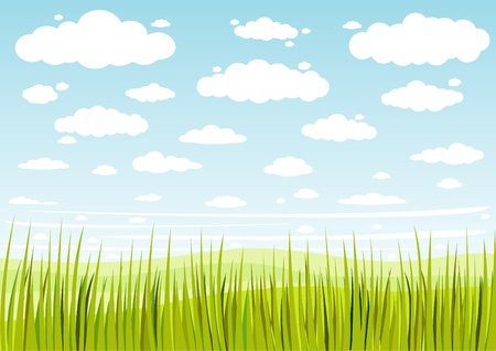 grass sky and clouds background Ilustrace
