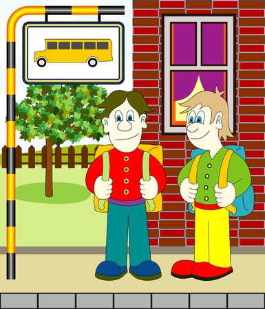 boys waiting for bus Stock Vector - 9862092