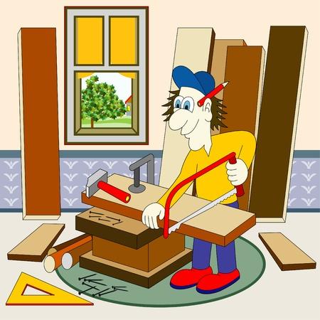 carpintero: carpintero en su taller Vectores