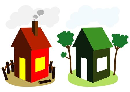 ordinary and green house Stock Vector - 9862112