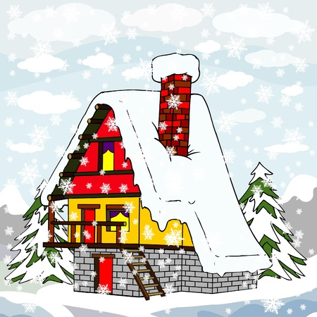 village house in winter Vector