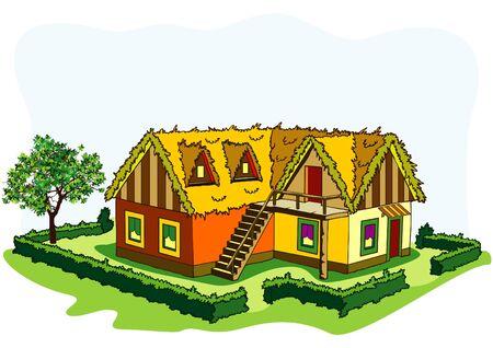 hedge trees: village house Illustration