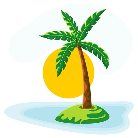 palm tree sea sun and sky Illustration