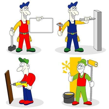 repair man: los trabajadores con herramientas Vectores