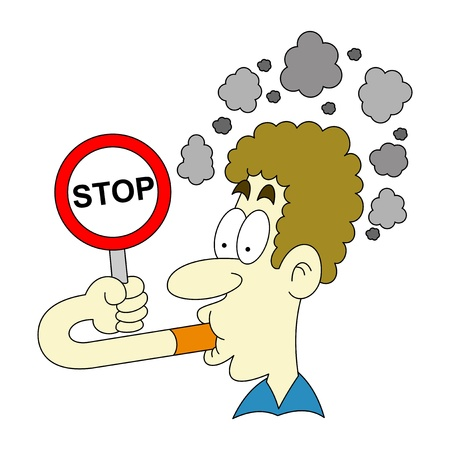 hombre fumando: la se�al de pare de fumar Vectores