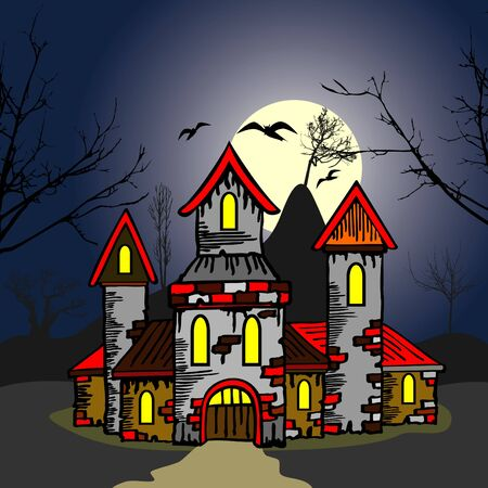 old castle in the night Vector