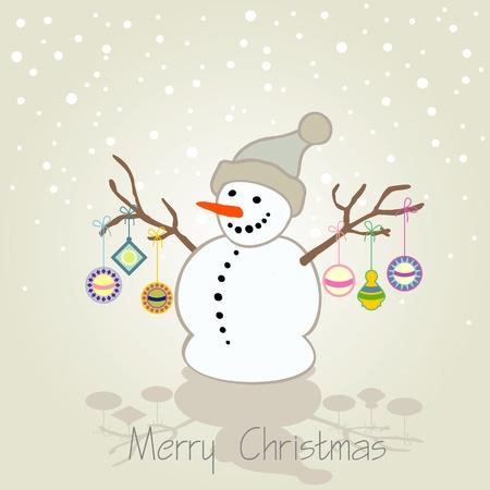 carte de voeux noel: No�l carte de voeux avec bonhomme de neige
