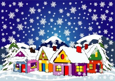 falu télen Illusztráció