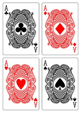 ace of clubs: four aces club diamond heart spade Illustration