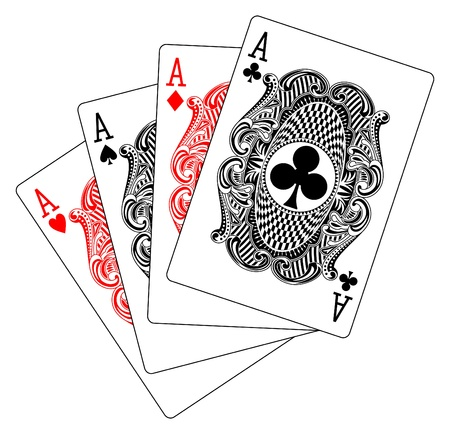 cards poker: aces poker heart spade diamond club Illustration