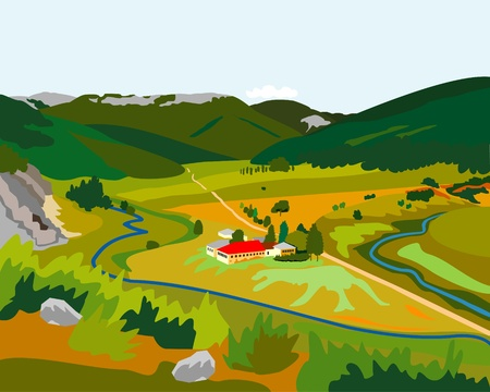 mountain meadow: peque�a f�brica en las monta�as