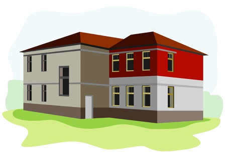 old school: old school building Illustration