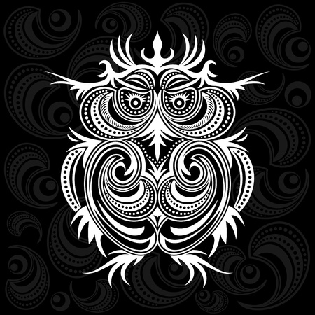 owl on ornament background