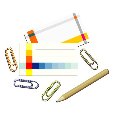 paper clips: business cards paper clips and pencil