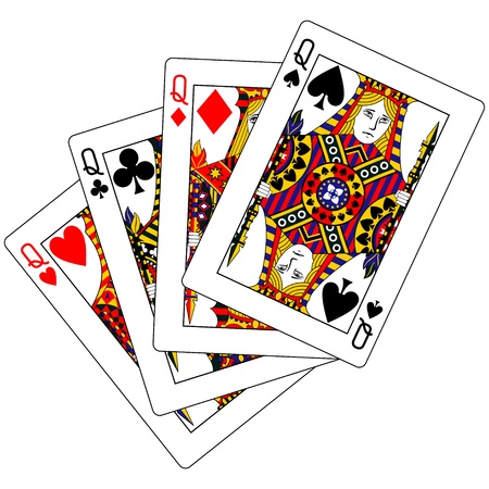 playing card set symbols: queens poker