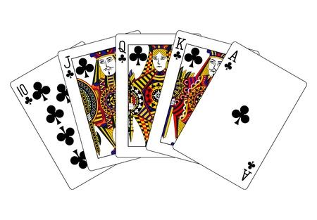 royal flush: clubs royal flush Stock Photo