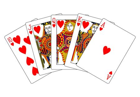 royal flush: hearts royal flush Stock Photo