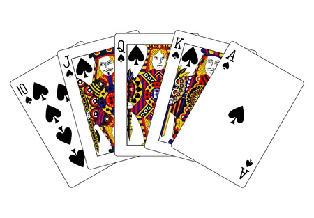 royal flush: spades royal flush Stock Photo