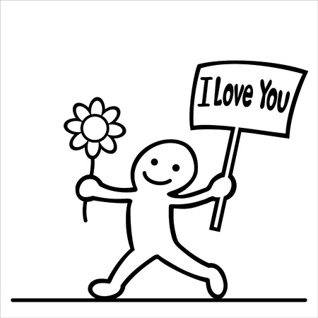 black people: cartoon of men with flower and love message Illustration