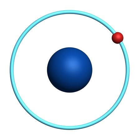 hidrógeno: un átomo de hidrógeno en el fondo blanco
