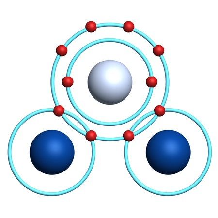 orbital: water molecule on white background