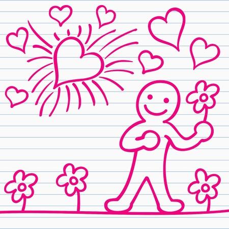 rajzfilm férfiak virággal és szívvel