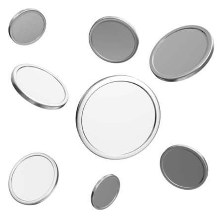 blank silver coins on white background  photo