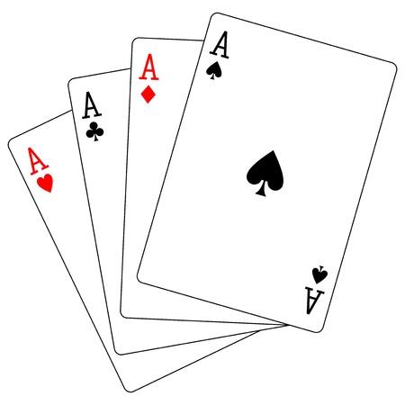 playing card symbols: cuatro ases Vectores