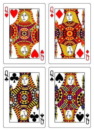 playing card symbols: conjunto de las reinas jugando a las cartas 62x90 mm