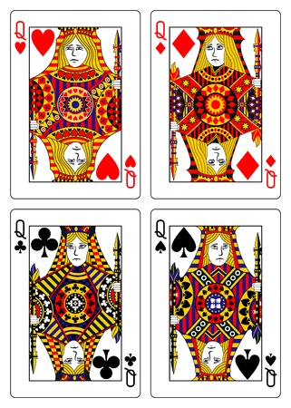 queen of diamonds: set of queens playing cards 62x90 mm