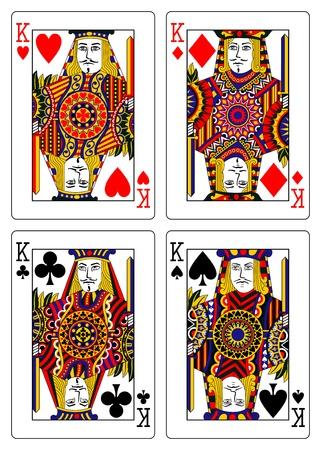 playing card symbols: conjunto de los reyes jugando a las cartas 62x90 mm