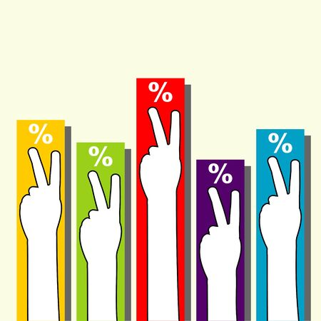 electing: voting hands with columns