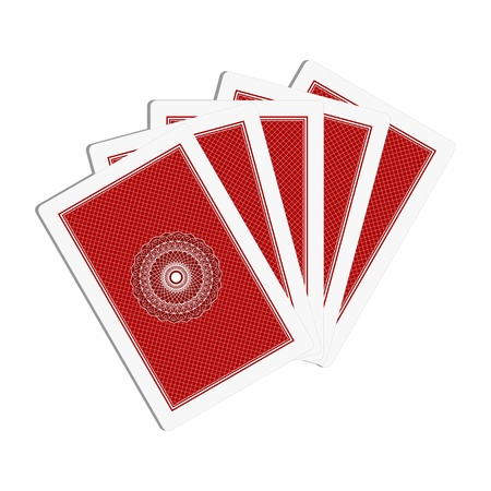 playing cards back side on white background