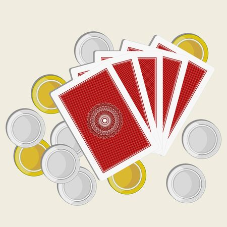 playing cards back side gold and silver coins Vector