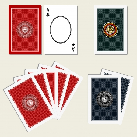 playing cards back side and blank ace Vector