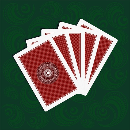 playing cards back side on green background Vector