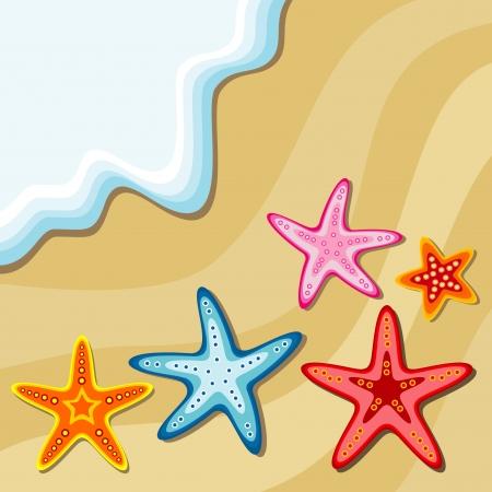 etoile de mer: fond d'été avec des étoiles de mer Illustration