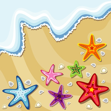 summer background with sea stars Vector