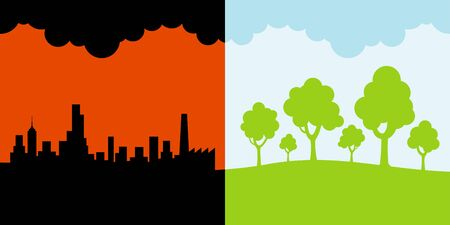 polluted: polluted and clean environment