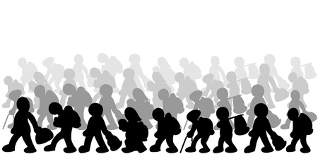 refugees: Illustration of migrants on white background