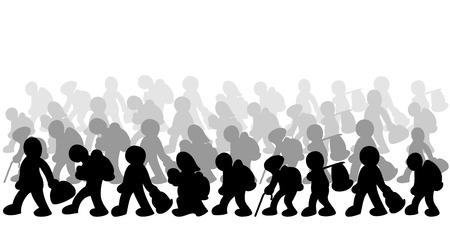 Illusztráció migránsok fehér alapon