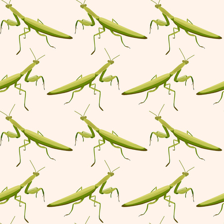 Seamless pattern made of mantises