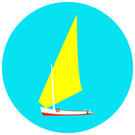 cruis: yacht illustration on a blue background