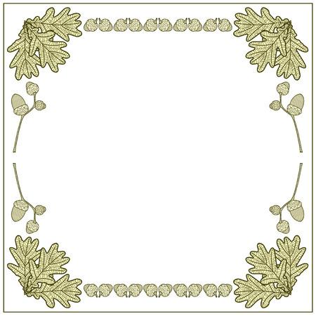 leaves frame: illustration frame made of acorns and oak leaves Illustration