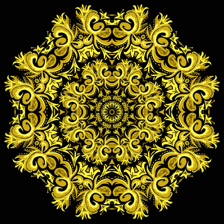 neon plant: Illustration of bright ornament card with mandala. Geometric circle element made in vector. Illustration
