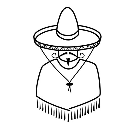illustration of Mexican in sombrero on white background