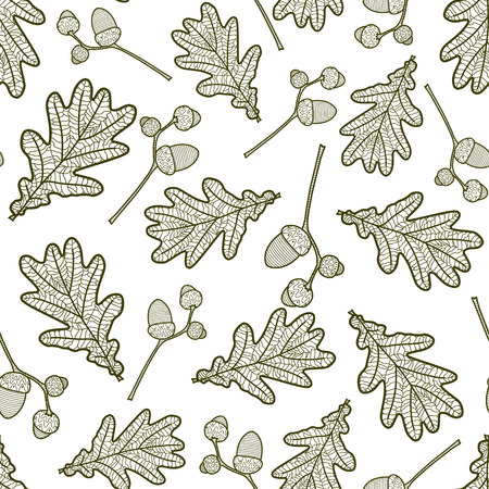 acorn: seamless pattern of branches with acorns and oak leaves