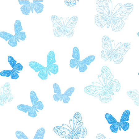 Seamless pattern made of ice butterflies